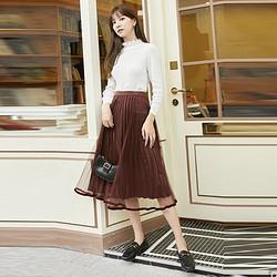VERO MODA 32031G017 女士薄纱百褶半身裙