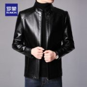 PLUS会员:罗蒙 男士2021秋冬新款皮衣夹克 黑色 XL