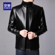PLUS会员:罗蒙 男士2021秋冬新款皮衣夹克 黑色